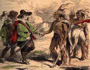 pilgrims-meet-the-Wampanoag-natives-at-plymouth-massachusetts